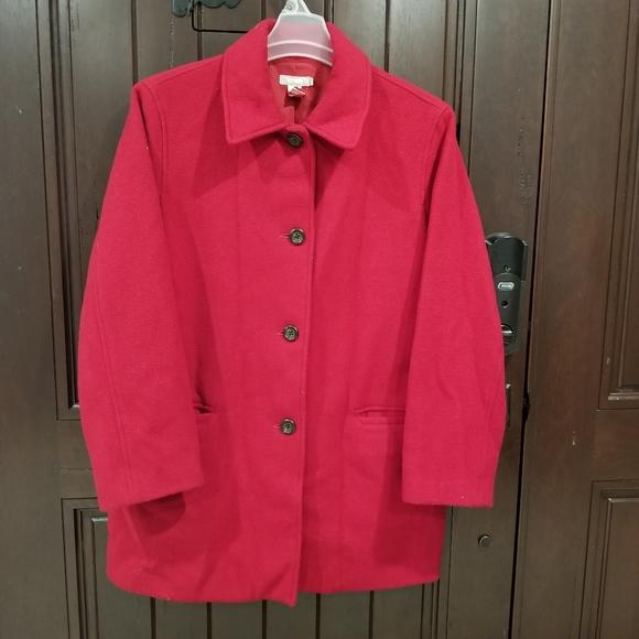 J. Crew Wool Cashmere Women Sz Large Pea Coat Red